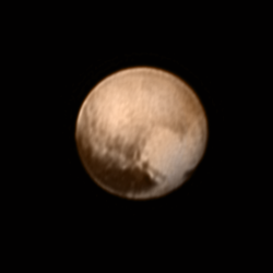 This image of Pluto from New Horizons' Long Range Reconnaissance Imager (LORRI) was received on July 8, and has been combined with lower-resolution color information from the Ralph instrument. - New Horizon NASA