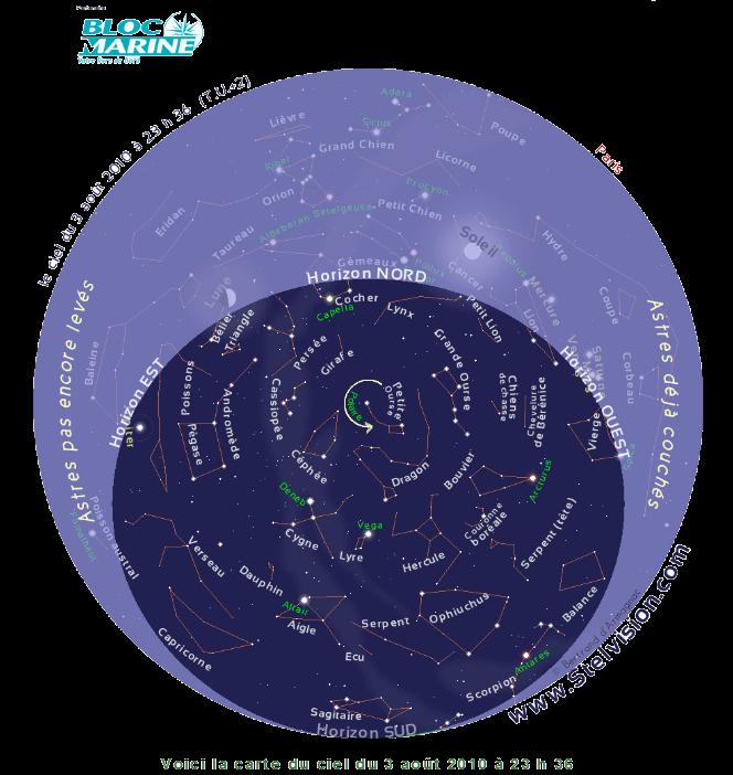 carte du ciel nocturne